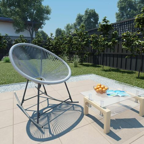 Topdeal Outdoor Rocking Moon Chair Grey Poly Rattan VDTD28674
