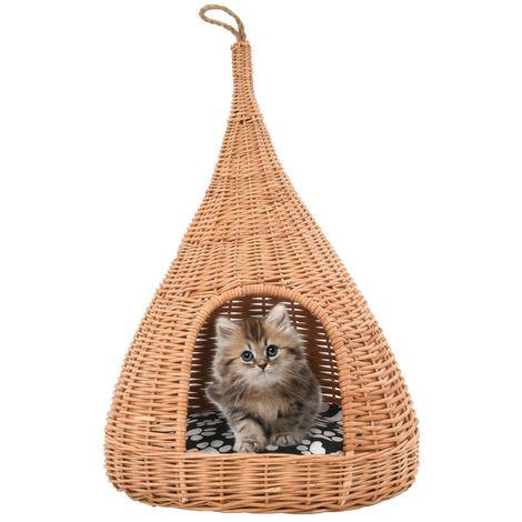 Topdeal Panier pour chats avec coussin 40x60 cm Saule naturel