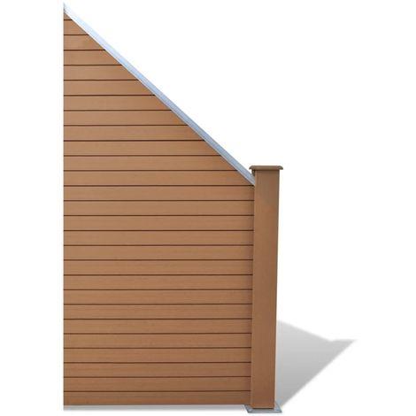 Topdeal Panneau de clôture WPC 105 x (105-185) cm Marron