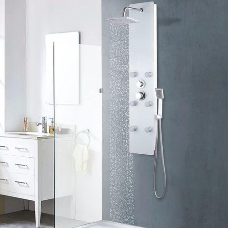 Topdeal Panneau de douche Verre 25 x 44,6 x 130 cm Blanc