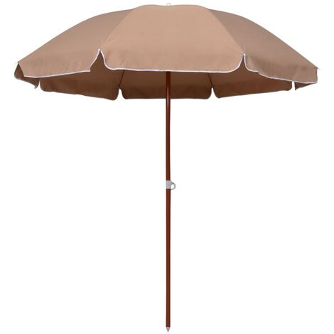 Topdeal Parasol with Steel Pole 240 cm Taupe VDTD46167