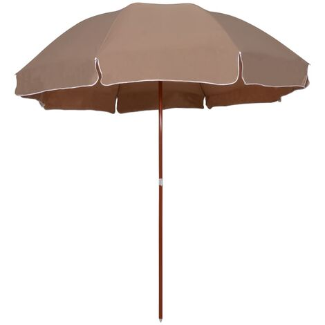Topdeal Parasol with Steel Pole 300 cm Taupe VDTD46168