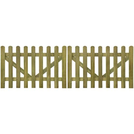 Topdeal Picket Fence Gate 2 pcs FSC Impregnated Wood 300x100 cm VDTD26766