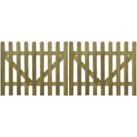 Topdeal Picket Fence Gate 2 pcs FSC Impregnated Wood 300x120 cm VDTD26767
