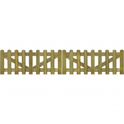 Topdeal Picket Fence Gate 2 pcs FSC Impregnated Wood 300x60 cm VDTD26764