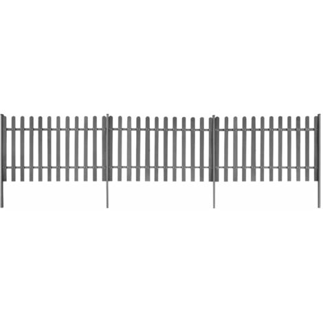 Topdeal Picket Fence with Posts 3 pcs WPC 600x100 cm VDTD27305