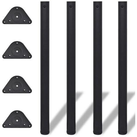 Topdeal Pied de table réglable en hauteur 4 pcs 870 mm Noir