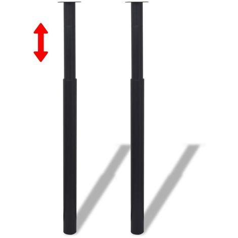Topdeal Pied de table télescopique 2 pcs Noir 710 mm - 1100 mm