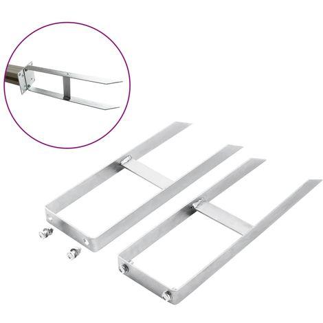 Topdeal Piquets de clôture de sol 2 pcs pour clôture en WPC Acier 40 cm