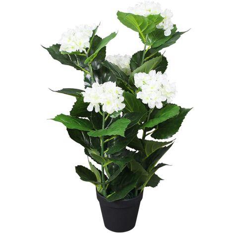 Topdeal Plante hortensia artificielle avec pot 60 cm Blanc
