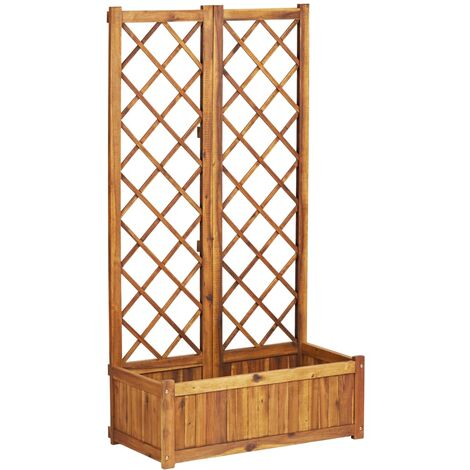Topdeal Planter with Trellis 80x38x150 cm Solid Acacia Wood VDTD34014