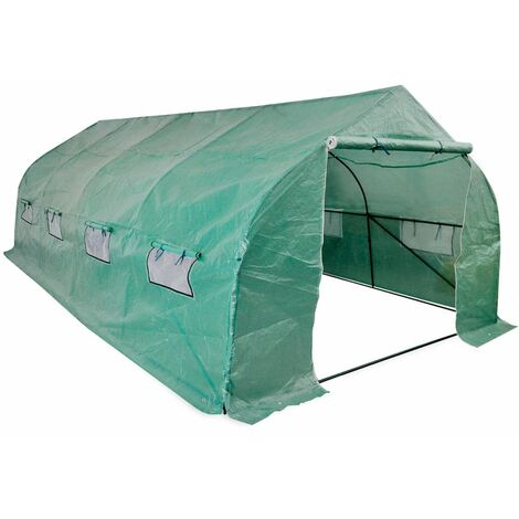 Topdeal Portable Polytunnel Greenhouse Steel Frame Walk-in 18 m2 VDTD27376