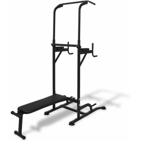 Topdeal Power Tower with Sit-up Bench VDTD32335