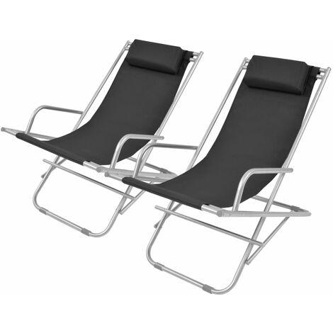 Topdeal Reclining Deck Chairs 2 pcs Steel Black VDTD27389