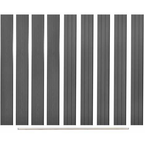 Topdeal Replacement Fence Boards 9 pcs WPC 170 cm Grey VDTD29192
