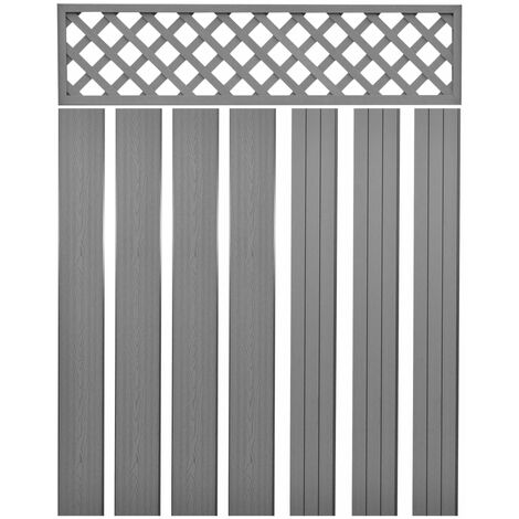 Topdeal Replacement Fence Boards WPC 7 pcs 170 cm Grey VDTD29208