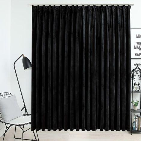 Topdeal Rideau occultant avec crochets Velours Noir 290x245 cm