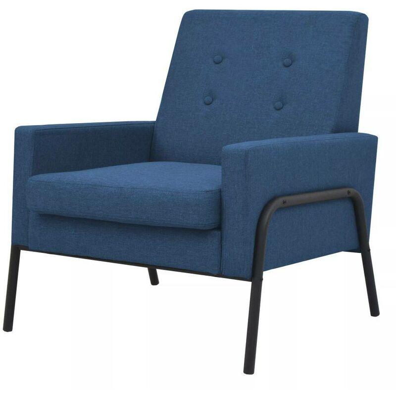 Sessel Blau Stahl und Stoff 11509 - Topdeal