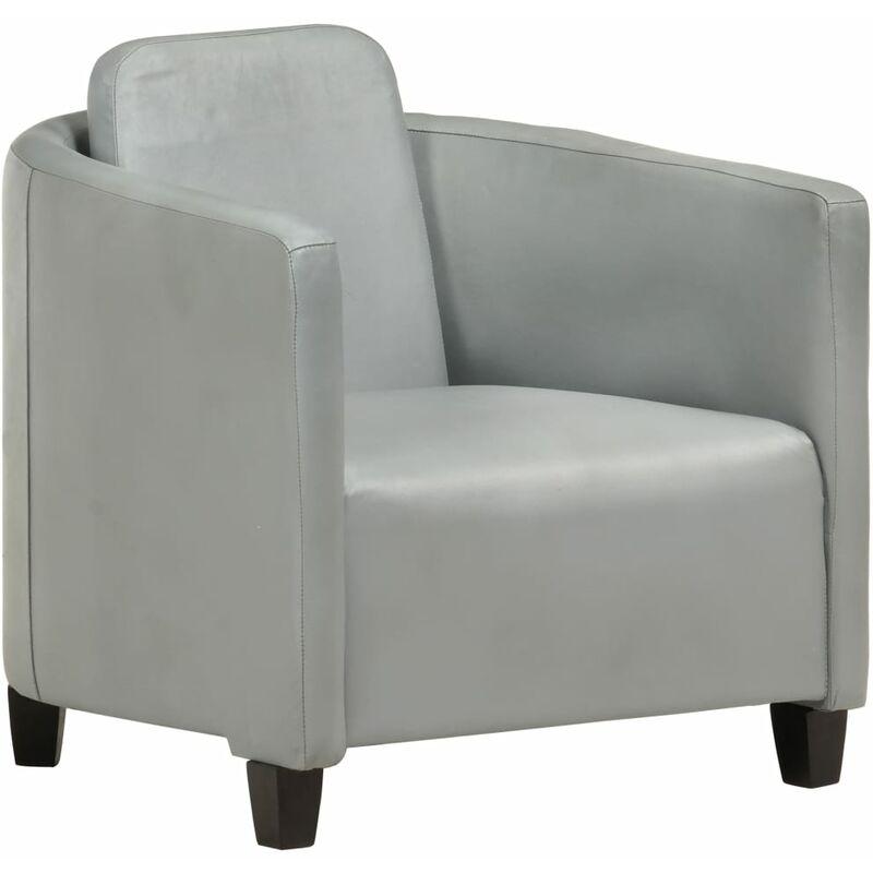 Topdeal Sessel Grau Echtleder 36262