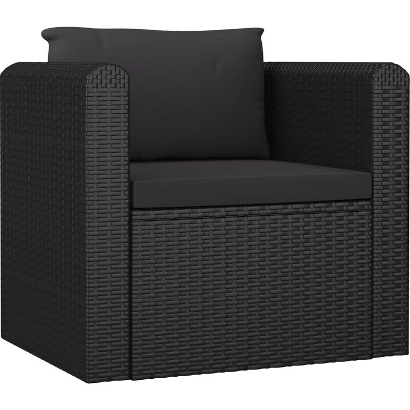 Topdeal Sessel mit Auflagen Poly Rattan Schwarz 45595