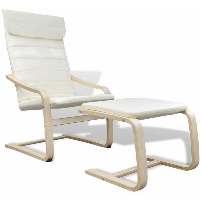 Sessel mit Bugholz-Rahmen Stoff Creme 08748 - Topdeal