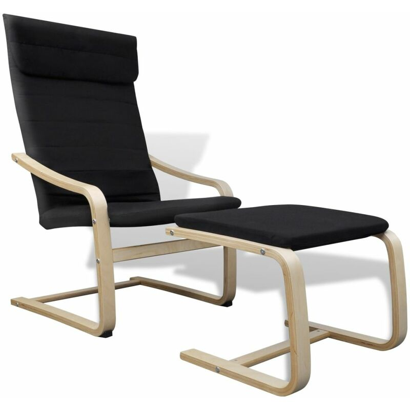 Sessel mit Bugholz-Rahmen Stoff Schwarz 08749 - Topdeal