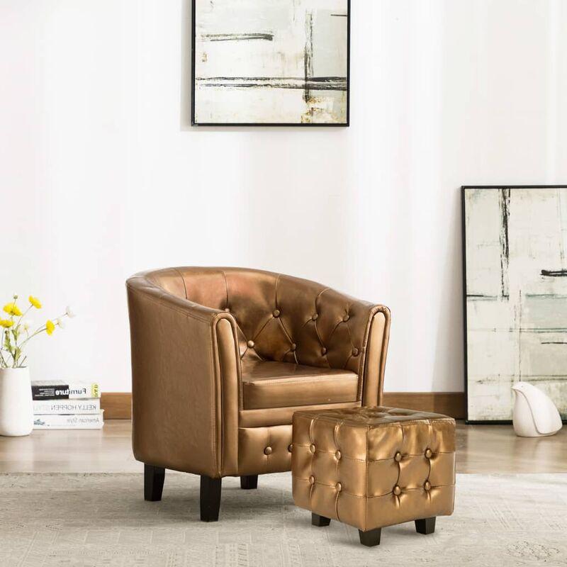 Sessel mit Fußhocker Braun Kunstleder 35711 - Topdeal