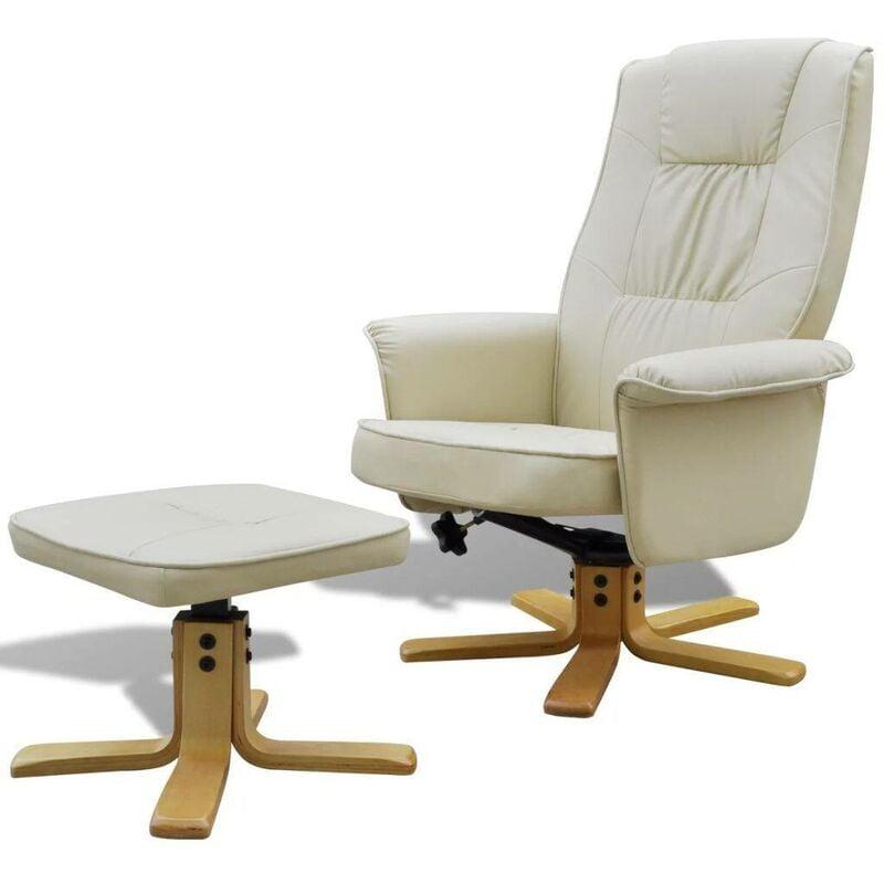Sessel mit Fußhocker Creme Kunstleder 08501 - Topdeal