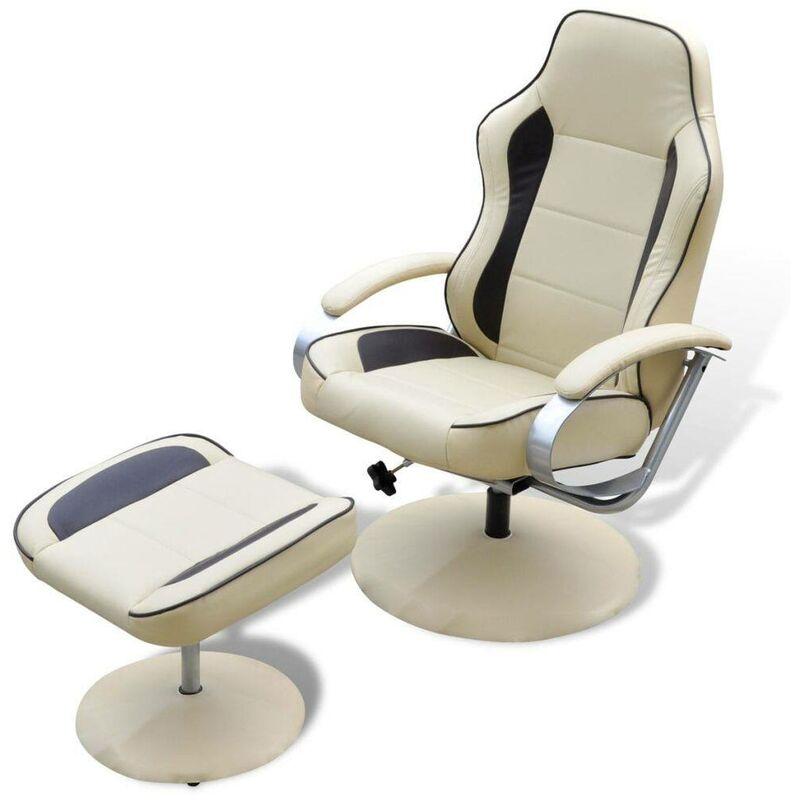 Sessel mit Fußhocker Cremeweiß Kunstleder 08503 - Topdeal