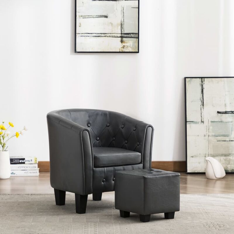 Sessel mit Fußhocker Grau Kunstleder 13885 - Topdeal