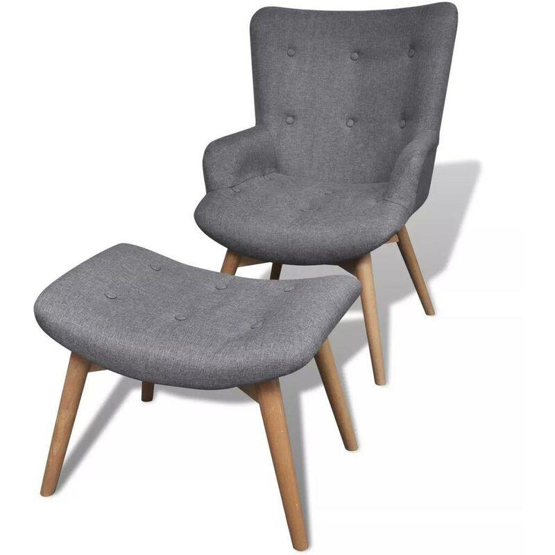 Sessel mit Fußhocker Grau Stoff 17767 - Topdeal