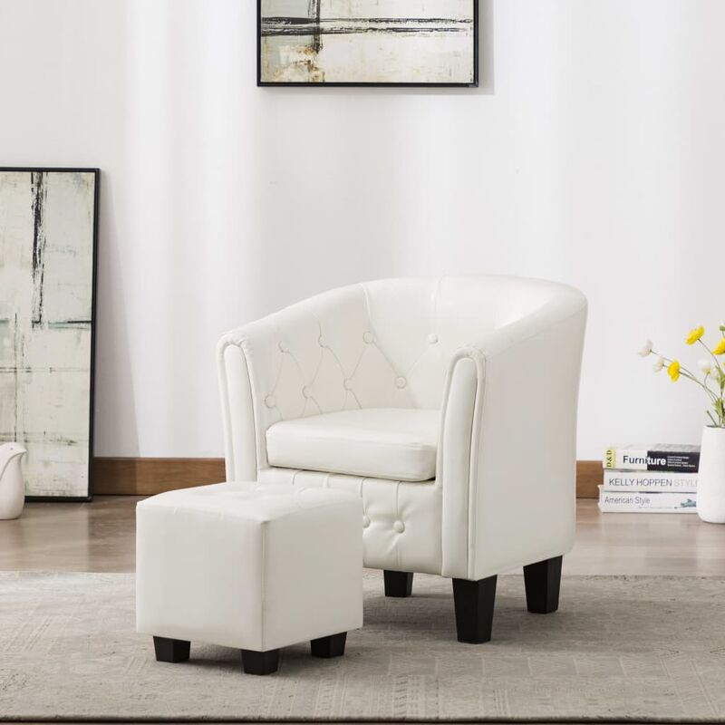 Sessel mit Fußhocker Weiß Kunstleder 13887 - Topdeal