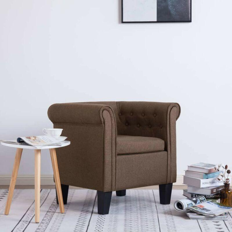 Sessel mit Kissen Braun Stoff 22902 - Topdeal