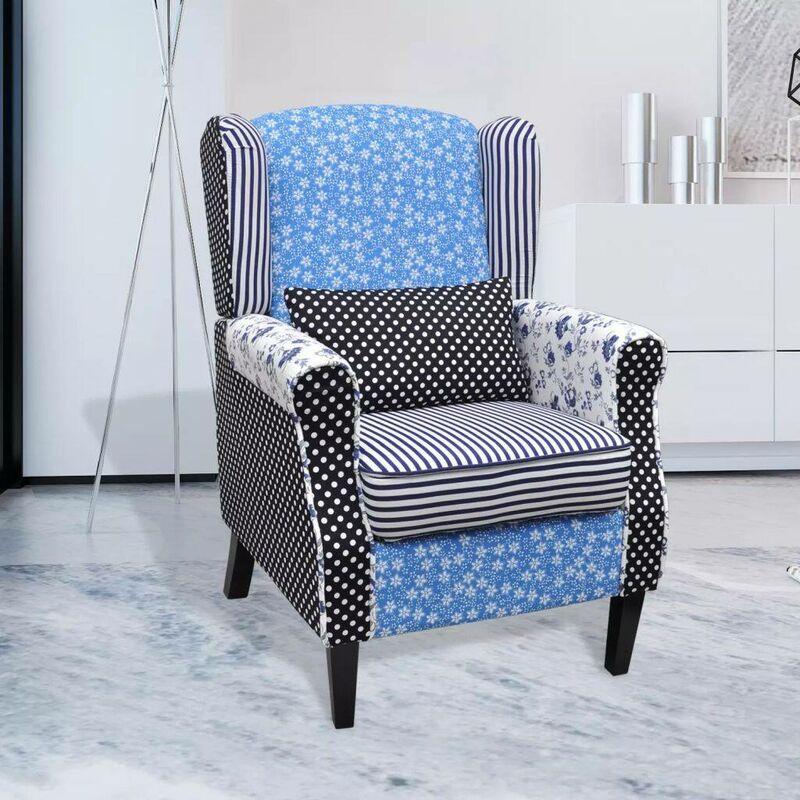 Topdeal Sessel mit Patchwork-Design Stoff 08428