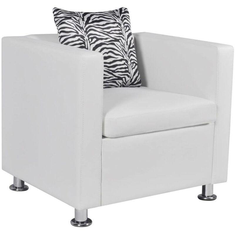 Sessel Weiß Kunstleder 09138 - Topdeal
