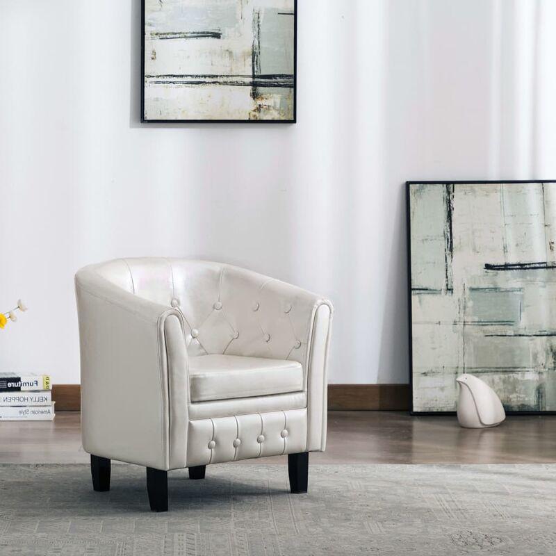 Sessel Weiß Kunstleder 35714 - Topdeal