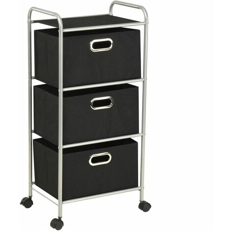 Topdeal Shelving Unit with 3 Storage Boxes Steel and Non-woven Fabric VDTD11698