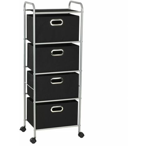 Topdeal Shelving Unit with 4 Storage Boxes Steel and Non-woven Fabric VDTD11699