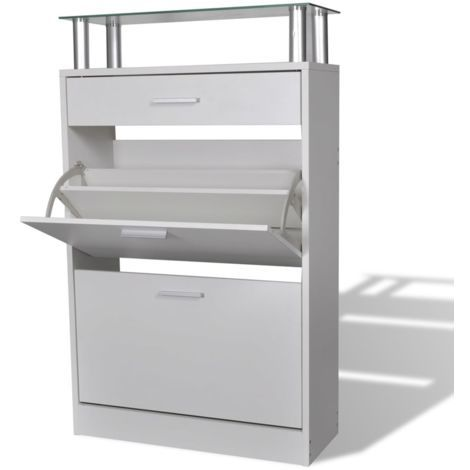 Topdeal Shoe Cabinet with a Drawer and a Top Glass Shelf Wood White VDTD08632
