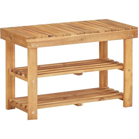 Topdeal Shoe Rack 70x32x46 cm Solid Acacia Wood VDTD29908