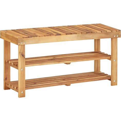 Topdeal Shoe Rack 90x32x46 cm Solid Acacia Wood VDTD29909