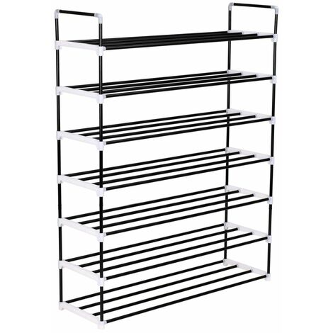 Topdeal Shoe Rack with 7 Shelves Metal and Plastic Black VDTD11585