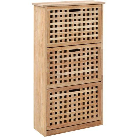 Topdeal Shoe Storage Cabinet 55x20x104 cm Solid Walnut Wood VDTD13454
