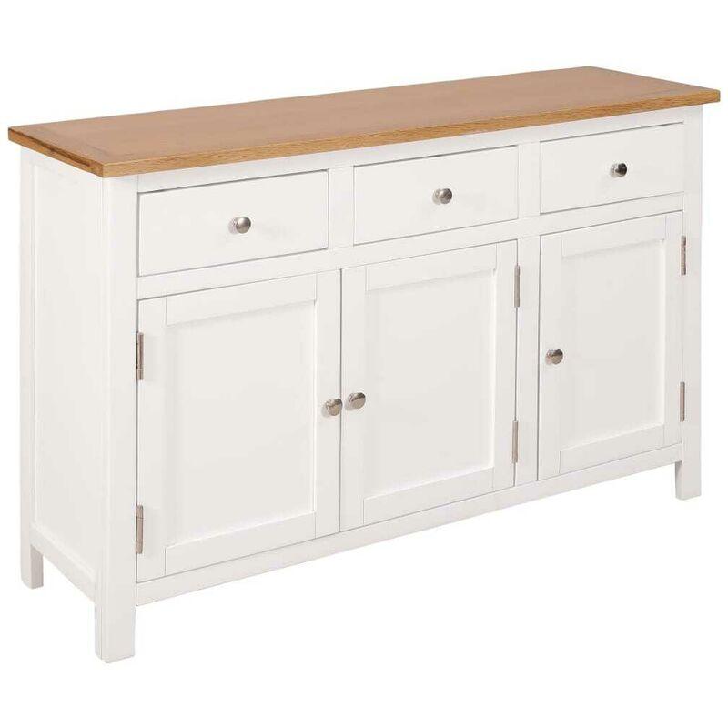 Topdeal Sideboard 110x33,5x70 cm Massivholz Eiche 13036
