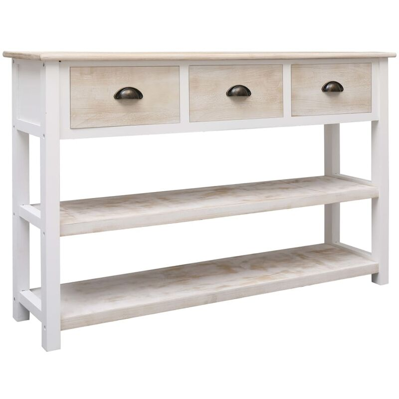 Sideboard Natur und Weiß 115x30x76 cm Holz 24711 - Topdeal