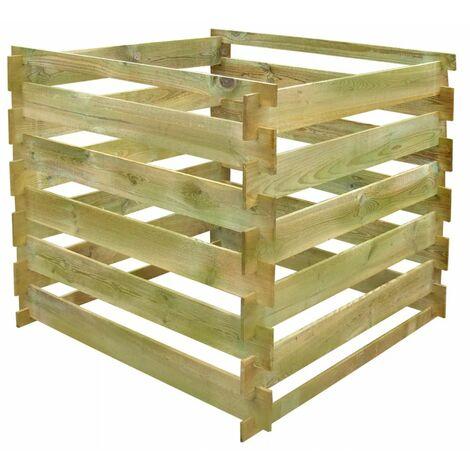 Topdeal Slatted Compost Bin 0.54 m3 Square FSC Wood VDTD26623