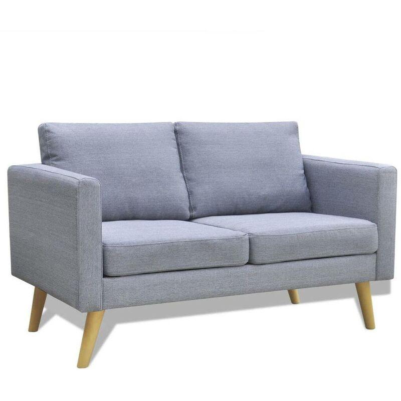 Sofa 2-Sitzer Stoff Hellgrau 09143 - Topdeal