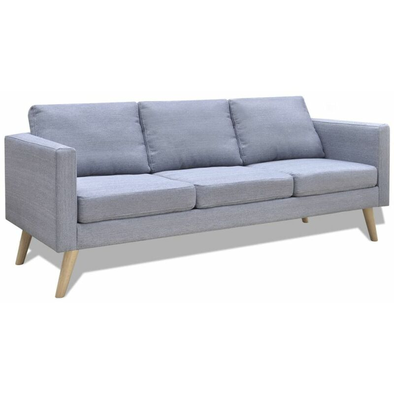 Sofa 3-Sitzer Stoff Hellgrau 09144 - Topdeal