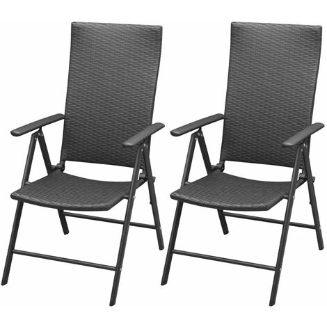 Topdeal Stackable Garden Chairs 2 pcs Poly Rattan Black VDTD27277
