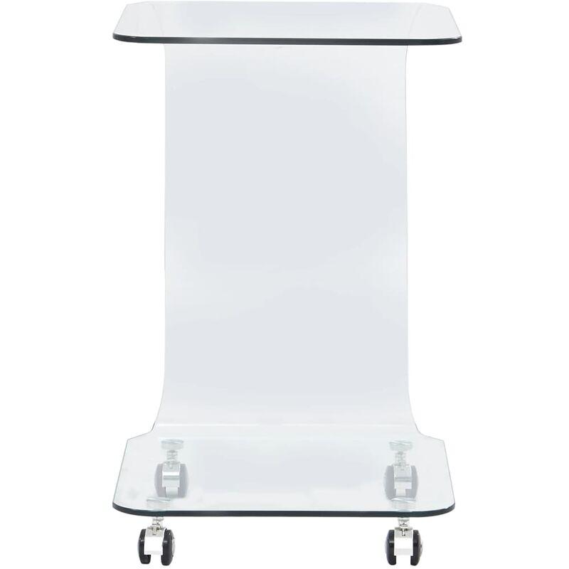 Topdeal VDYU25026_FR Table basse 45 x 40 x 63 cm Verre trempé Table de Salon, Table TV, Table d'Appoint avec étagère de Rangement pour Salon,